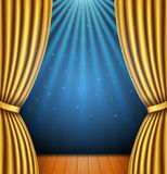 Background with a gold curtain and a spotlight royalty free illustration