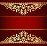 Background with golden ornament and red band. Illustration background with golden ornament and red band vector illustration