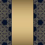 Illustration background with gold ornaments and strip for text. royalty free illustration