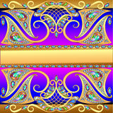 Illustration background with gold pattern mesh. And jewels royalty free illustration