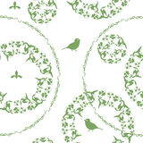 Illustration background, green flowers and birds Stock Image