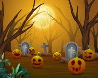 Background of Halloween celebration in cemetery Stock Illustration
