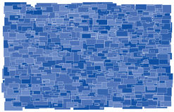 Background made of various size and shade blue rec Stock Photos