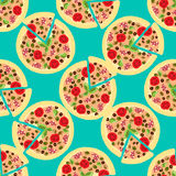 Illustration background with pizzas. Seamless pattern. Stock Photo