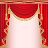 Background with red velvet curtain with tassels. Illustration background with red velvet curtain with tassels Stock Image