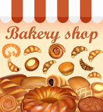 Illustration background store of bread and baking fresh bread se Stock Photos
