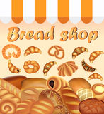 Illustration background store of bread and baking fresh bread set Royalty Free Stock Photos