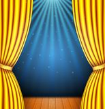 Background with a yellow curtain and a spotlight vector illustration