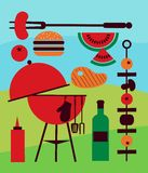 Illustration of backyard barbecue scene Stock Images