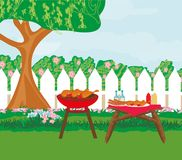 Illustration of backyard barbecue. Backyard barbecue on a summer day, Vector Illustration Stock Photography