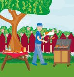 Illustration of backyard barbecue. Vector Illustration of backyard barbecue Stock Photo