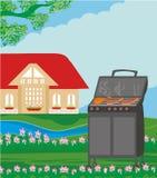 Illustration of backyard barbecue Stock Image
