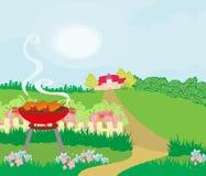Illustration of backyard barbecue Royalty Free Stock Photos