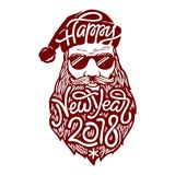 Illustration of bad Santa Claus in glasses with lettering Happy New Year 2018 on his beard. Vector illustration in. Illustration of bad Santa Claus in glasses Stock Photo