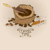 Illustration with bag of coffee and scoop Stock Photography