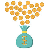 Illustration bag in which fall dollars. Insulated on white background Stock Photo