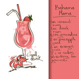 Illustration with Bahama Mama cocktail Stock Image
