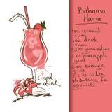 Illustration with Bahama Mama cocktail Stock Image