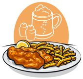 Fish and chips. Illustration of baked fish and chips with lemon and sauce Stock Images