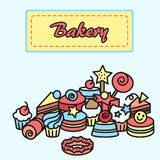Illustration  of bakery, cake icons sticker. Candy, sweet banner Stock Photo