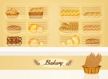 Illustration of bakery. Illustration of ftesh bread in the bakery Royalty Free Stock Photo
