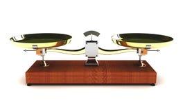 Illustration of balance scales on white background. 3d illustration of balance scales on white background Royalty Free Stock Image