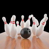 Illustration of a ball hitting the pins Royalty Free Stock Photography