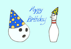 Illustration. Ball and pin bowling. Happy Birthday. Royalty Free Stock Photos