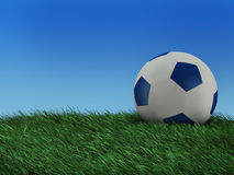 Illustration of a ball to play soccer. 3D Illustration of a soccer ball on a grass field Stock Illustration
