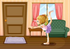 A ballet dancer inside her house Royalty Free Stock Images