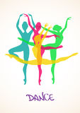 Illustration with ballet dancers Stock Photography
