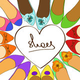 Illustration with ballet flats shoes. Illustration with fancy colorful ballet flats shoes Royalty Free Stock Image