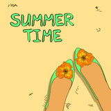 Illustration with ballet flats shoes. Illustration of ballet flats shoes with fancy flower decoration Stock Photos