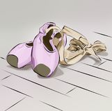 Illustration ballet shoes for ballet lying on top of each other pink purple and bow stock photography