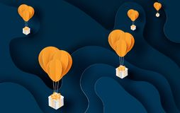 Illustration of balloon yellow floating and Gift Box on in the air night blue sky.Your text space background vector.Festival. Decorations for card and cover royalty free illustration