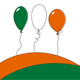 Illustration with balloons. And colors of the Irish flag Stock Photos
