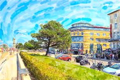 Illustration of Baltic sea town Warnemunde with lighthouse at promenade. people walking along.  royalty free illustration