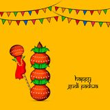 Illustration of elements of hindu festival Gudi Padwa background. Illustration of bamboo, cloth, pots and decoration with happy gudi padwa text on the occasion Stock Images