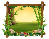The bamboo trees in frame nature. Illustration of the bamboo trees in frame nature vector illustration