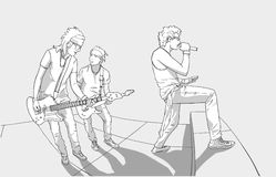 Illustration of band performing on stage. Stylized drawing of rock band on stage Royalty Free Stock Photos