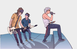Illustration of band performing on stage. Stylized drawing of rock band on stage Royalty Free Stock Photo