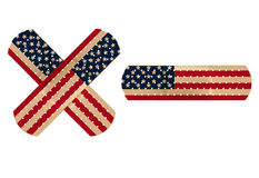 Illustration of bandage with US flag. Representing the USA health care bill royalty free illustration