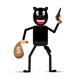 Illustration of a bandit in mask with gun Royalty Free Stock Photo