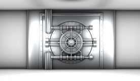 Illustration of bank vault door, front view Stock Photo