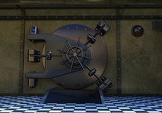 Bank Vault Door, Safe, Lock. Illustration of a bank vault door and lock. Money and valuables are stored here. Abstract concept for money, business, finances Royalty Free Stock Photo