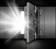 Grunge bank vault. Illustration of a bank vault in a grunge interior with light beams coming out of open door Stock Photography