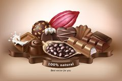 Illustration, banner with chocolate sweets, chocolate bar and cocoa beans. Print, template, design element for packaging and advertising, sticker Stock Image