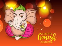 Happy Ganesh Chaturthi Celebration. Illustration of a Banner of a Creative Card or Poster For Festival of Ganesh Chaturthi Celebration vector illustration