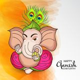 Happy Ganesh Chaturthi Celebration. Illustration of a Banner of a Creative Card or Poster For Festival of Ganesh Chaturthi Celebration stock illustration