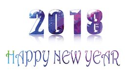 2018 Banner Happy New Year Concept Text In Geometric Shape. Illustration of 2018 Banner Happy New Year Concept Text In Geometric Shape many many blessing and vector illustration